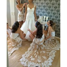 New Champagne with Lace Mermiad Bridesmaid Dresses Short Front Long Back Sleeveless Wedding Party Gowns 2017 dames jurken PB68