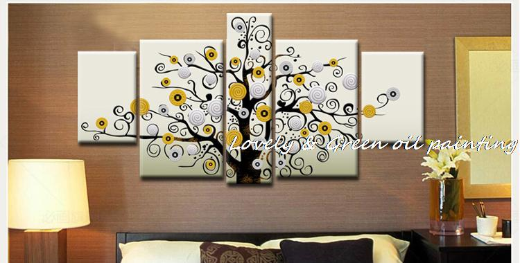 Hand painted money tree oil painting 5 piece canvas wall art sets modern abstract picture on the wall for living room home decor