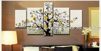 Pintados à mão dinheiro árvore pintura a óleo 5 peça conjuntos de arte da parede lona moderna abstrata imagem na parede para sala estar decoração casa