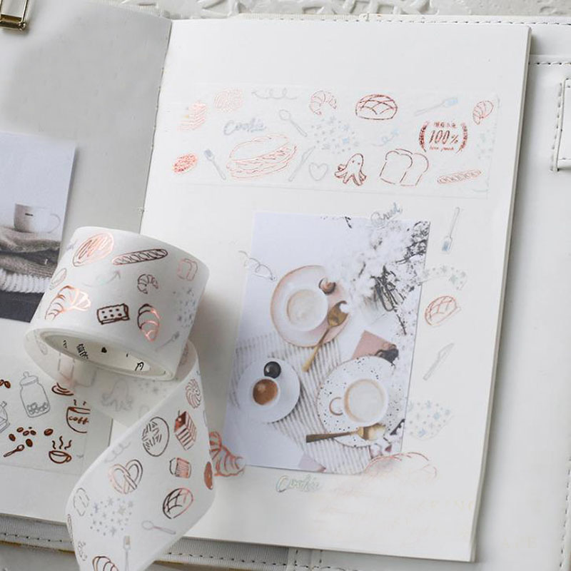 1 Pcs Creative Romantic Holiday Animal Food Gold Bronzing Tape Decoration Washi Tape Diy Sticker Diary Sticker School Supplies Handsome Appearance