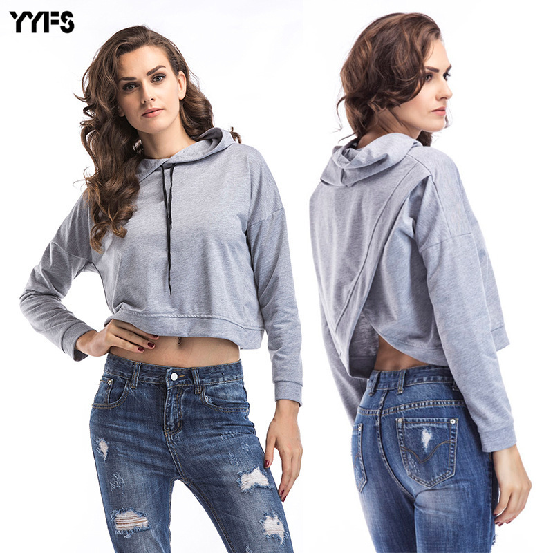 Casual Crop Hoodies Sweatshirts Women Clothes 2018 Ladies Long Sleeve Top  Femme Sudaderas Poleron Mujer Moletom 73c123e05c43