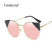 Coodaysuft 2017 New Cat Eye Famous Brand Designer Sunglasses Vintage Metal Frame Cateye Sun Glasses Female