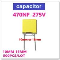 JASNPROSMA 470NF 500PCS 1000PCS 안전 커패시터 X2 275VAC 피치 10mm 15mm 0.47 미크로포맷 474 10% K 275V 474K