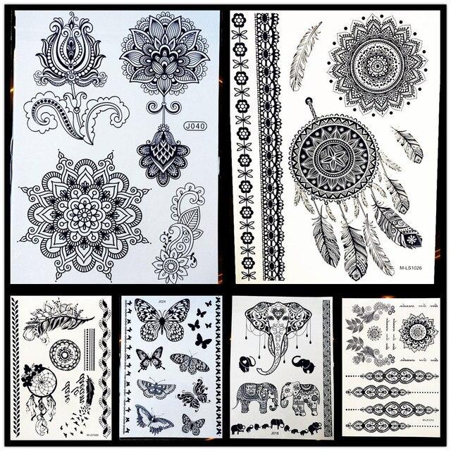 25 Styles Non-Toxic Women Henna Tattoo Black Fake Lotus Mandala Flower Body Arm Art Waterproof Temporary Tattoo Stickers HBJ040