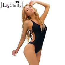 La Chilly plus sizes wimsuit bodysuit 2017 bathing suits for women monokini Sexy Black One-piece Swimwear with Strings LC41068
