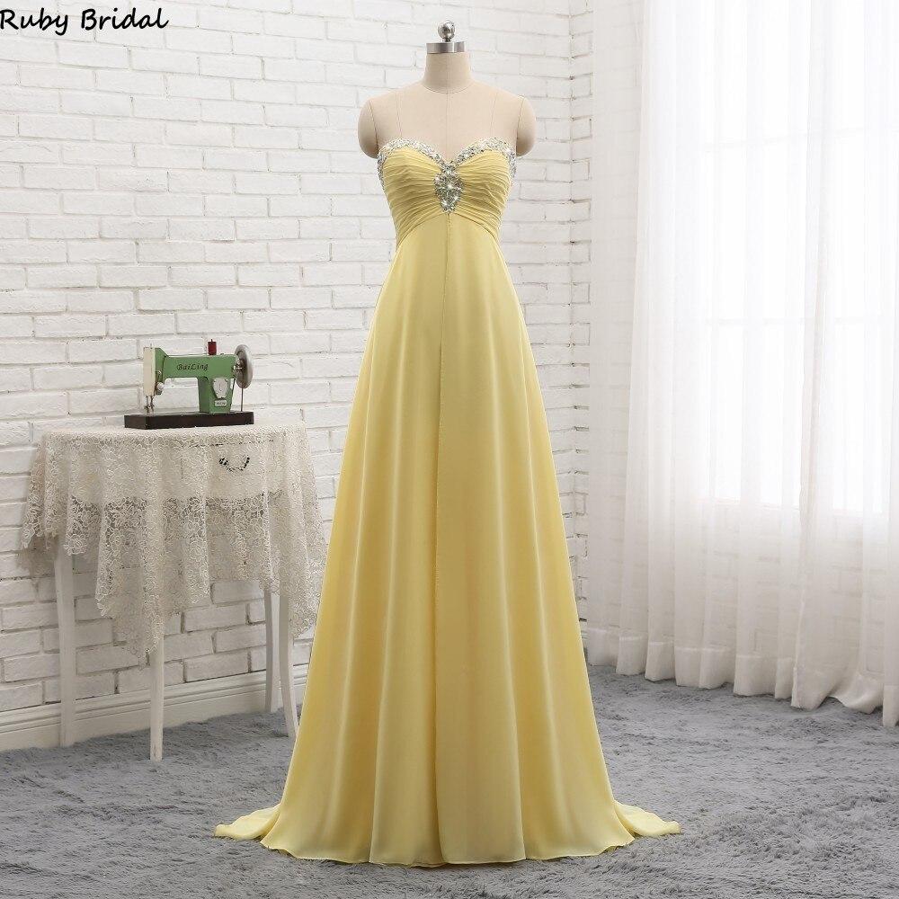 f867b2ebcf8 Ruby Bridal 2019 Vestidos De Fiesta Long A-line Yellow Evening Dresses  Chiffon Pleats Beaded
