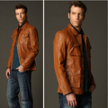 Free shipping New Korean version Slim stylish men's leather jackets casual jackets brand spring coat L-XXXL