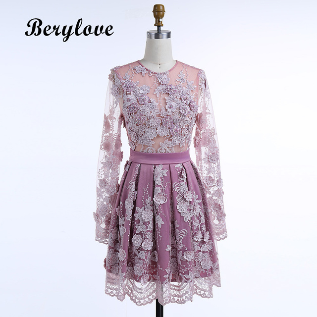 BeryLove Short Purple Homecoming Dress Style Long Sleeves Flowers Homecoming  Dresses 2018 Mini Cheap Graduation Party 53698b2a32ff