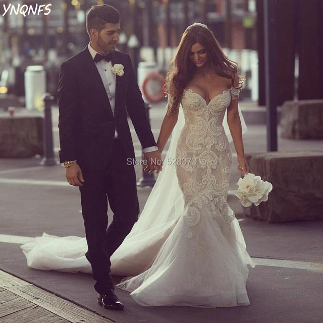 3cde796672 YNQNFS W60 Real Elegant Vestido de Noiva Simples Mermaid Wedding Gowns Lace  Party Bride Mermaid Dress 2019