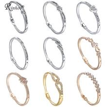 RINHOO браслеты из нержавеющей стали с сердечками для женщин, браслет, кристалл, стразы, бесконечность, ювелирные изделия, свадебный браслет для невесты, матери