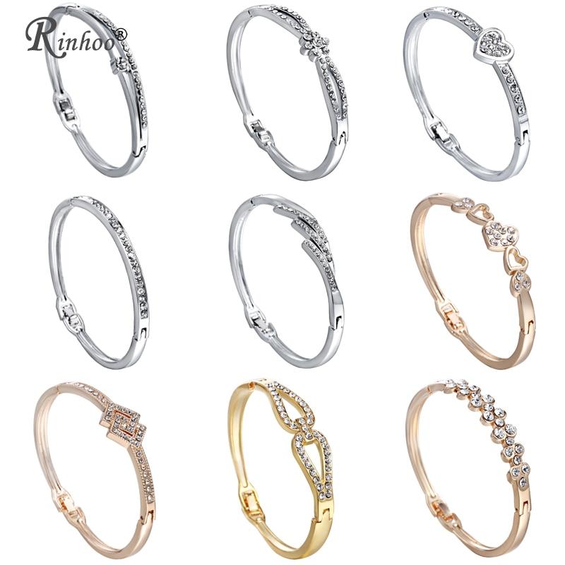 Bracelet de bracelets pour femme en acier inoxydable RINHOO Love cœur cristal strass bijoux infini Bracelet de mariée mère de mariage