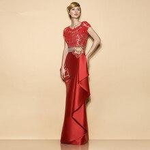 Elegante Rote Spitze Lange Mutter der Braut Kleider Plus Größe Für Hochzeit Bodenlangen Abend Formale Kleider Patin Kleider M31