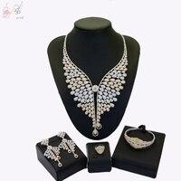 YULAILI кубического циркония комплекты украшений для женщин Свадебные большое ожерелье серьги браслет кольцо женский костюм аксессуары
