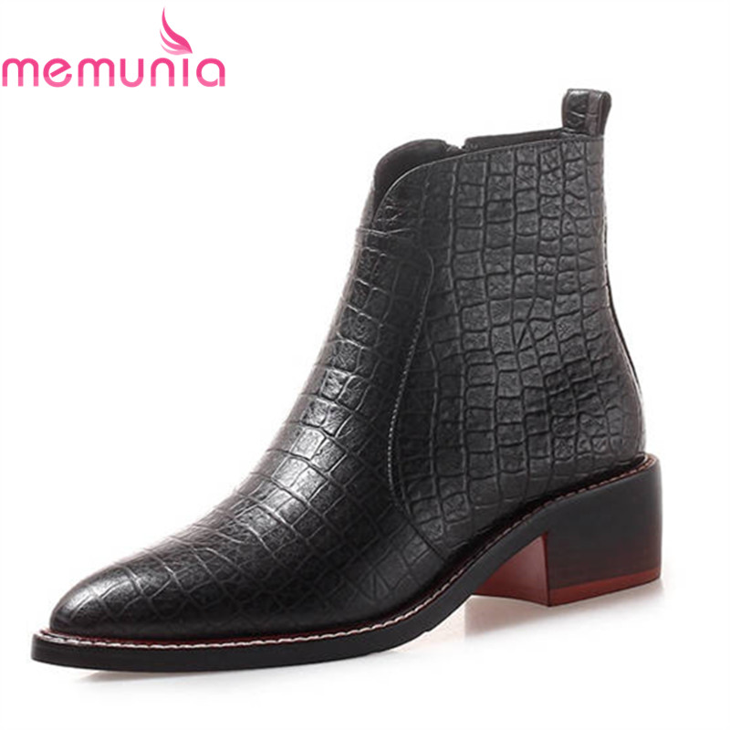 MEMUNIA 2018 new arrival ankle boots women simple zipper genuine leather autumn boots pointed toe square heels shoes woman MEMUNIA 2018 new arrival ankle boots women simple zipper genuine leather autumn boots pointed toe square heels shoes woman