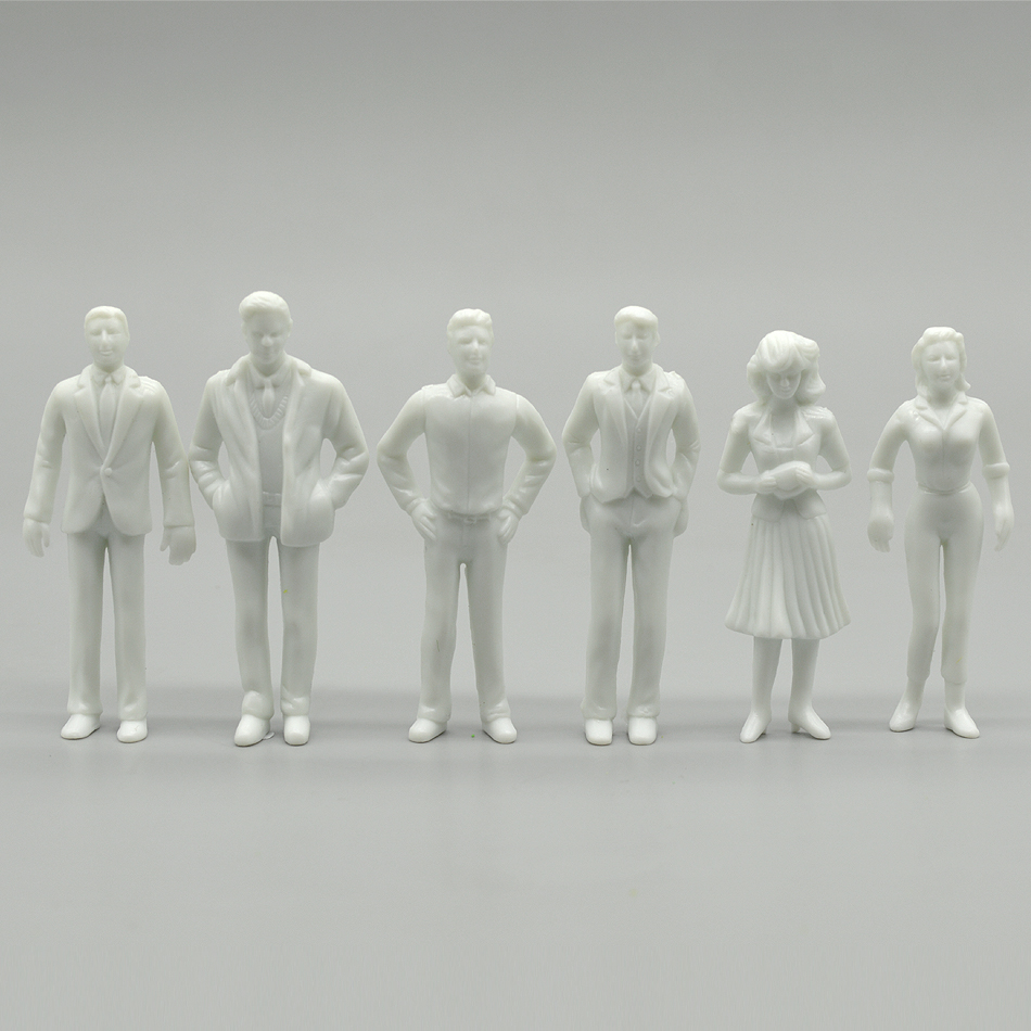 HO White Figures 1/25 Architectural Building Model Human Scale ABS Plastic People Making Characters Diorama