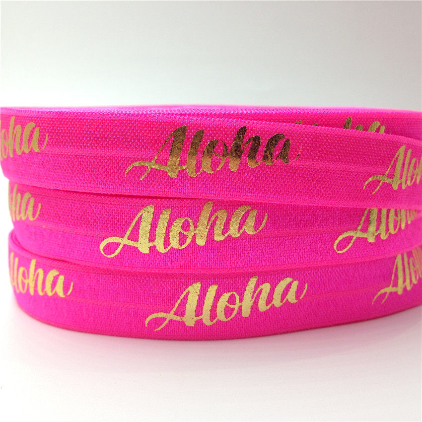 5Yards 16mm Neon Pink Aloha Gold Foil Fold Over Elastic band for sewing accessories DIY Headbands Hair Ties Hair Accessories