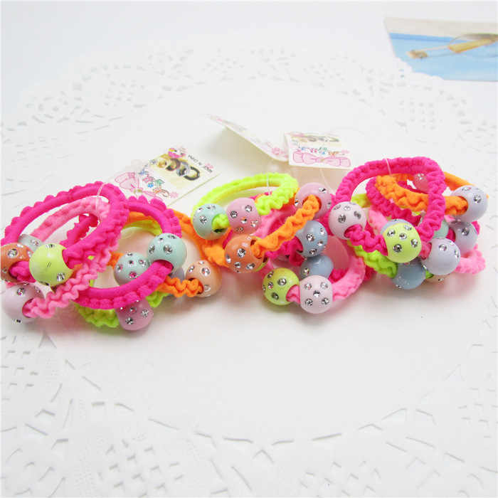 5pcs/lot Colorful Child Kids Hair Holders Cute Rubber Hair Band Elastics Accessories Girl Charms Tie Gum