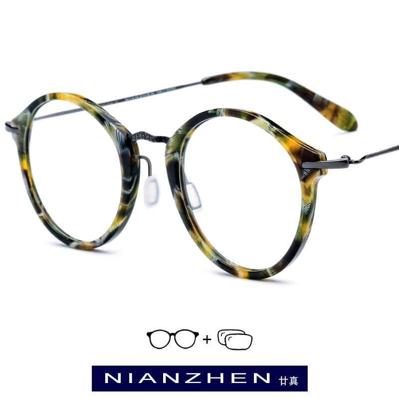 1852 Runde 2019 Frauen Acetat Für B Myopie Männer Vintage Titan Optische Brillen Rahmen wxSvq7Ag