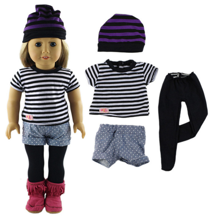 Fleta Hot sell 1set clothes+Hat American Girl Doll Clothes 18 inch doll or 43cm born baby doll toy accessories b520 american girl doll clothes superman cosplay costume doll clothes for 18 inch dolls baby doll accessories