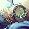2015 relgio Señoras Relogio Del Reloj del Metal del reloj de Cuarzo Mujeres de Los Hombres de Ginebra para las mujeres oro stianless reloj relogio feminino