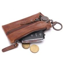 Heißer Verkauf Neue Vintage-vollrindleder Männer Auto Schlüsseltaschen Keychain Abdeckungen Reißverschluss Stil Schlüssel Fall Halter Keeper Organizer