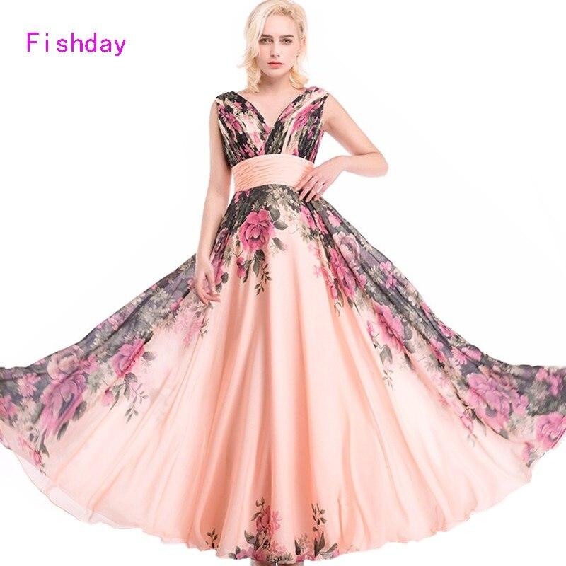 Día de pescado Vestidos de baile gasa larga flores mujeres elegante ...