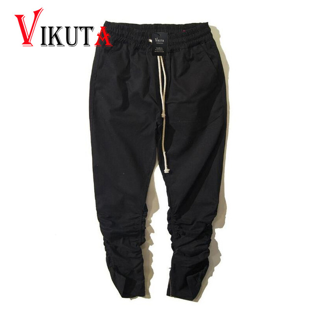 Vikuta Rubber trousers zipper scimitar casual pants for men youth fashion all-match slim KANYE fashion pants freeshipping VC3779