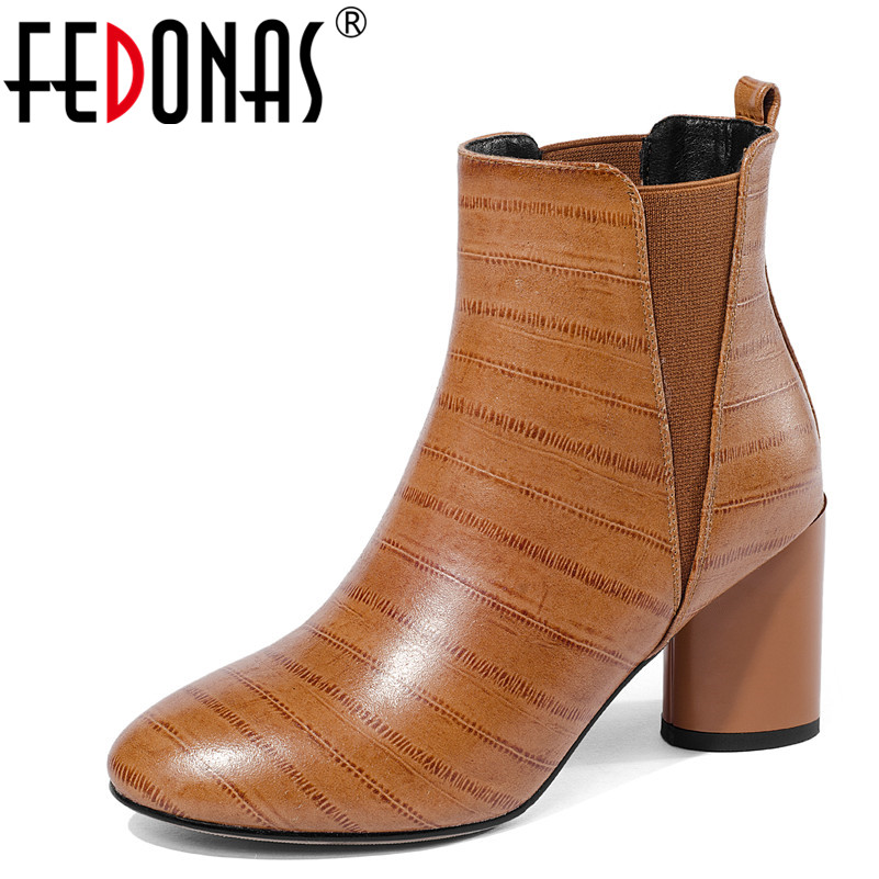 FEDONAS New Women Ankle Boots Genuine Leather High Heels Shoes Autumn Winter Warm Round Toe Snow Shoes Woman Basic High Boots 2018 new arrival genuine leather zipper runway autumn winter boots round toe high heels keep warm elegant women ankle boots l29