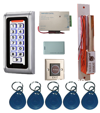 Proximity Card Waterproof Standalone Access Control Kits/5pcs keyfobs+5pcs cards, Waterproof Metal Keypad,Electric Dropbolt Lock metal rfid em card reader ip68 waterproof metal standalone door lock access control system with keypad 2000 card users capacity