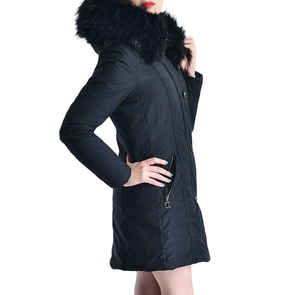 De Noir Armée Vêtements army Femmes Longues 2018 Nouvelles Grand Manches Col D'hiver Et Manteau Veste Chaud Fourrure Hoodied Vert Long Green Noir qwq6tgf