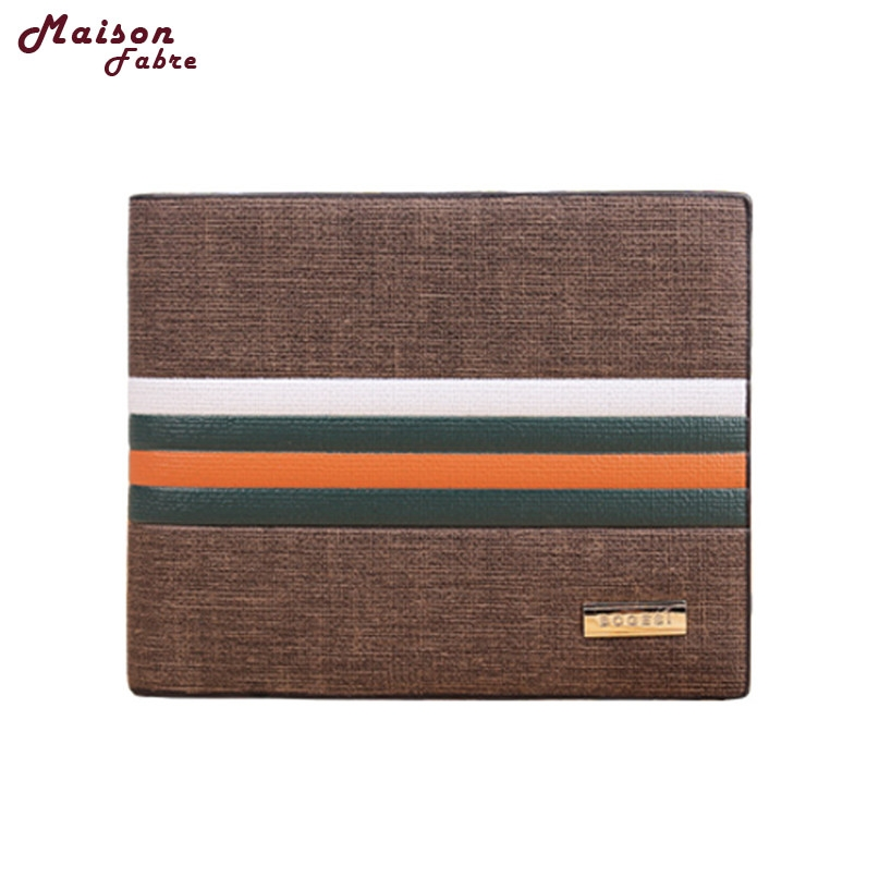 1PC Business Striped Short Section Of High-quality Leather Mens Wallet Sets drop shipping 0719