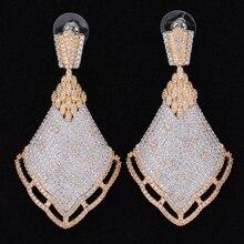 Jimbora Spike Luxe Zirconia Ingelegd Engagement Party Drop Dangle Oorbellen Sieraden Voor Vrouwen
