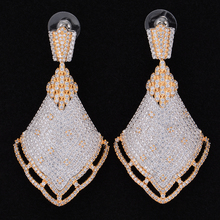 Jimbora Spike Luxury Cubic Zirconia Inlaid Engagement Party Drop Dangle Earrings Jewelry For Women
