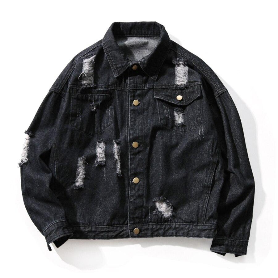 Jean déchiré veste hommes Street Wear patchs hommes Denim vestes Hip Hop Erkek Mont Patchwork Punk Rock hommes manteau grande taille 5J010