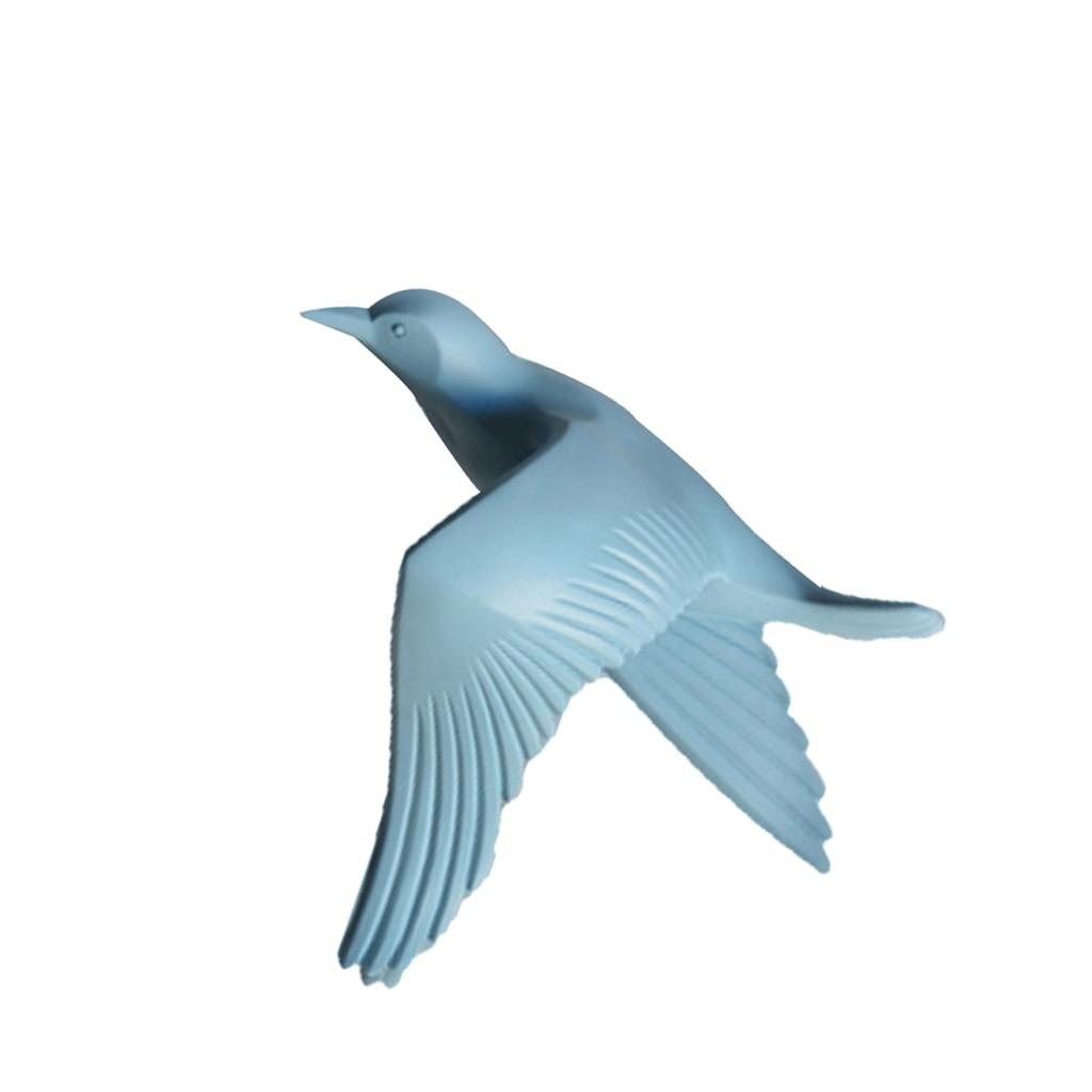 5pcs Nautical Resin 3D Birds Wall Art Murals Flying Seagull Sculpture Bedroom Wall Stickers DIY Home Hotel Decor Blue