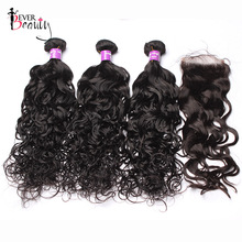 Ever Beauty Brazilian Human Hair Weave Bundles With 4*4 Lace Closure Baby Hair 4Pcs/Lot Water Wave 3 Bundles With Closure