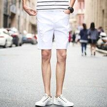 Buraco branco shorts jeans dos homens seção fina estiramento Magros cinco  na maré versão Coreana do lazer 5 pontos instalados Fr.. 59724084023