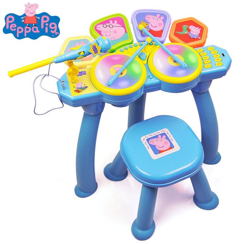 Peppa pig apprentissage éducation jouet Instrument de musique tambour tambour enfants jouets mâle fille simulation tambour bébé jouet pour enfants