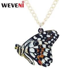 WEVENI Acrylic Papilio Demoleus Butterfly Necklace Pendant Choker Chain Collar Long Trendy Insect Jewelry For Women Girls Bijoux