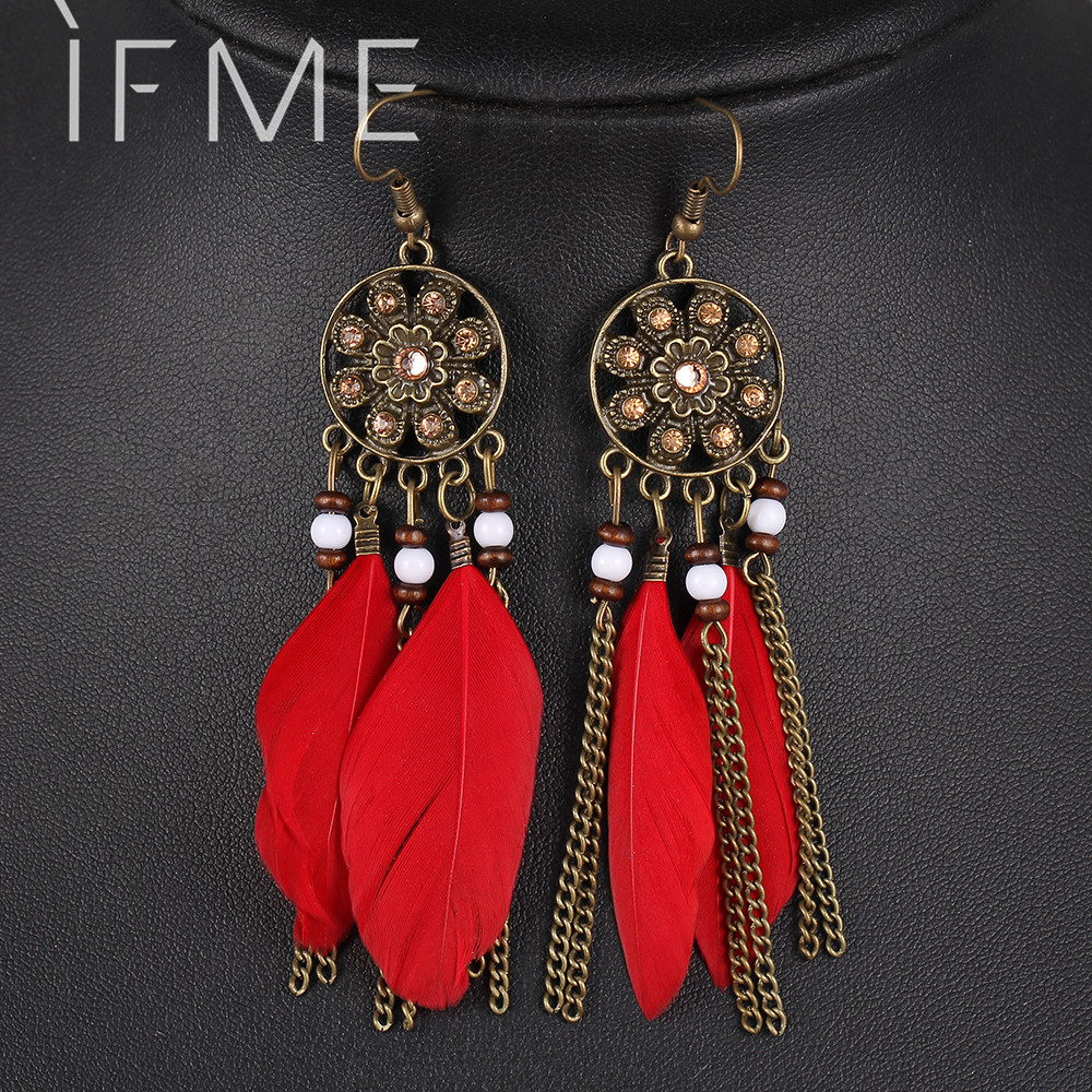 Retro Women Fashion Personality Punk Classic Bronze Earrings Flower Rhinestone Feather Tassel Pendant Earrings For Women