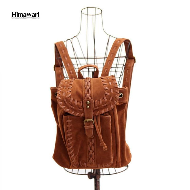 Himawari High quality faux suede women backpack waterproof girls school <font><b>bags</b></font> leather Laptop backpack Mochila Masculina