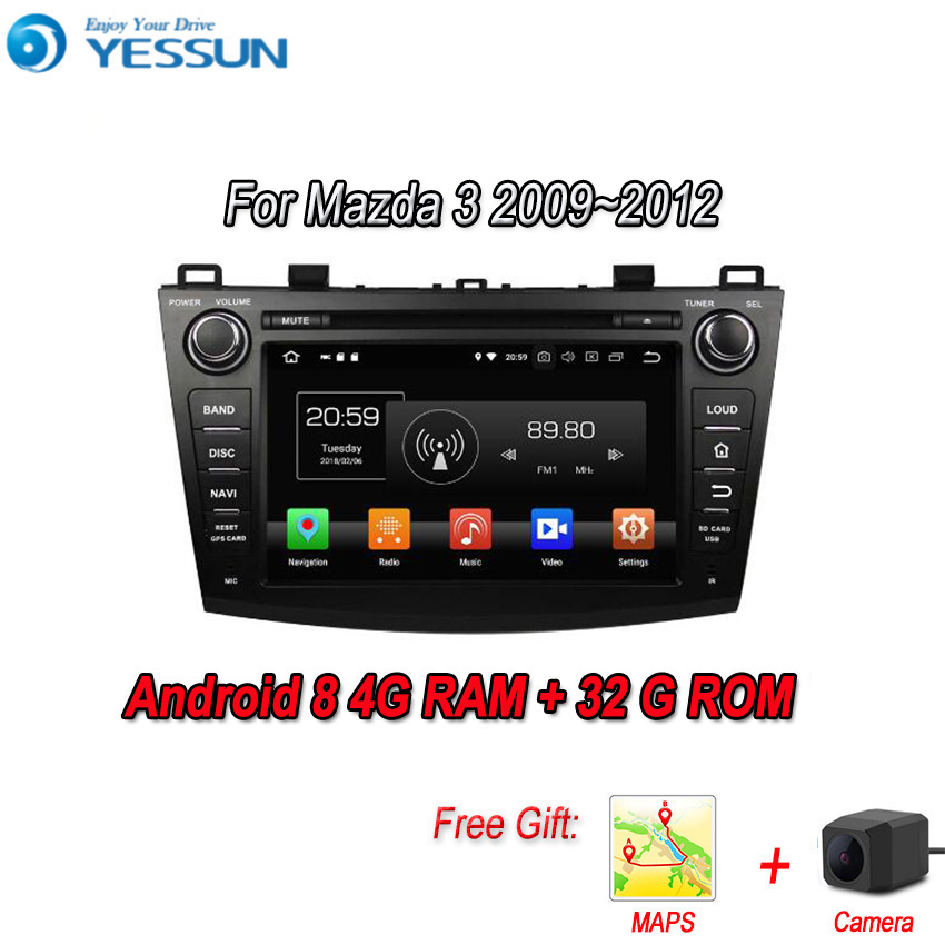 YESSUN Android 8.0 4G RAM pour Mazda 3 BL 2009 ~ 2012 Navigation de voiture GPS lecteur multimédia lien miroir Radio écran tactile Autoradio