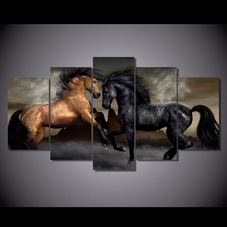 5 pièces/ensemble encadrée HD imprimé noir brun amour chevaux photo mur Art toile impression décor à la maison affiche abstraite toile peinture à l'huile