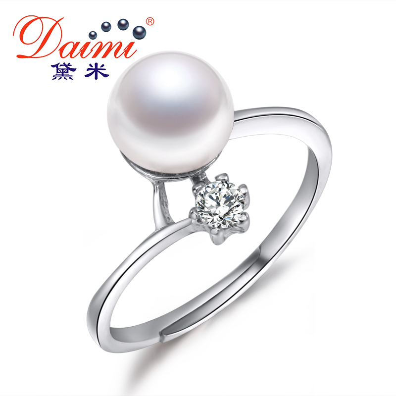 Clearance 100% Real Pearl Ring 8-9mm Freshwater Pearl Ring For Women Anniversary Gift Bijoux stylish faux pearl rhinestone eye ring for women