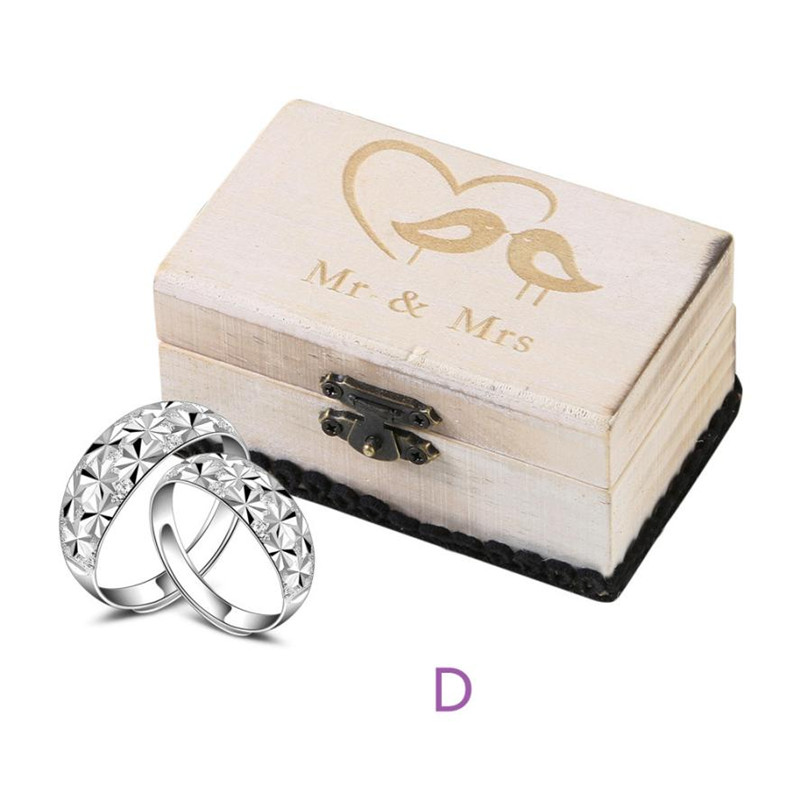 DO OLD Retro Wedding Ring Box Holder Classic Wooden Shabby Chic Rustic Wooden Bearer Case with Lock Clip Engagement Rings square