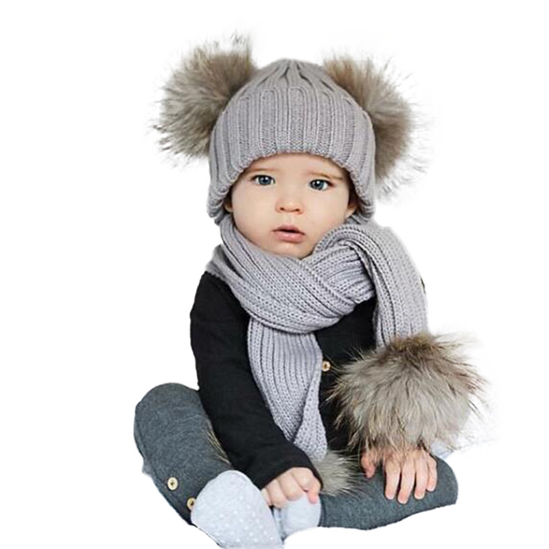 Winter Baby Hats Scarf Set Kids 2018 Fashion Raccoon Fur Ball Unissex Caps Scarf Set Pom Skullies Beanies Knitted Hat
