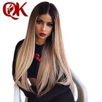 QueenKing волос бразильский Реми эффектом деграде (переход от темного к блондинка Lemi Цвет парик 150% плотность натуральный 27 полный кружевной пар