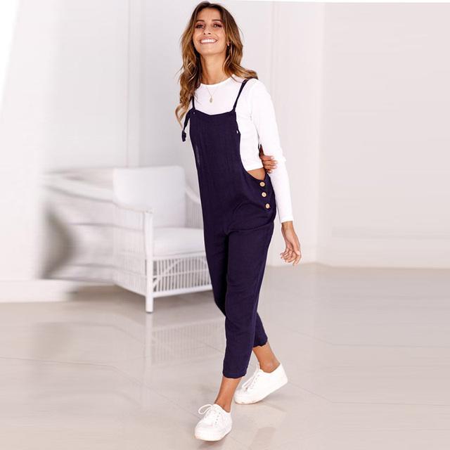 Casual Ankle-Length Denim Overalls Women – 21JS