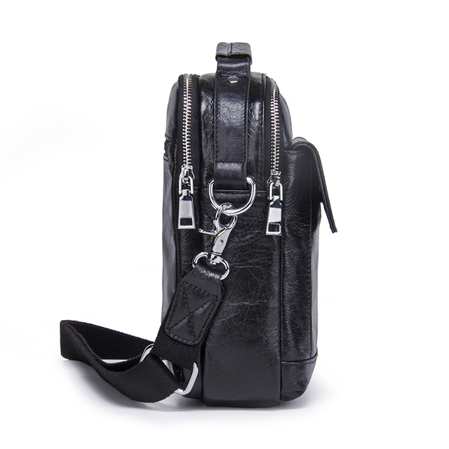 CONTACT'S Genuine Cow Leather Messenger Bags Flap Casual Men Solid Handbags Famous Brand Small Male Shoulder Crossbody Bags 1