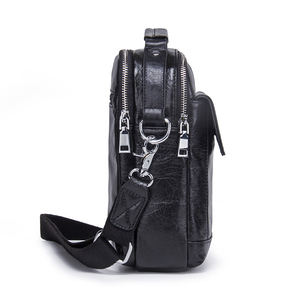 Image 2 - CONTACTS Genuine Cow Leather Messenger Bags Flap Casual Men Solid Handbags Famous Brand Small Male Shoulder Crossbody Bags